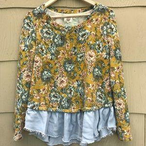 Anthropologie Lilka   Floral Peplum Sweatshirt   L